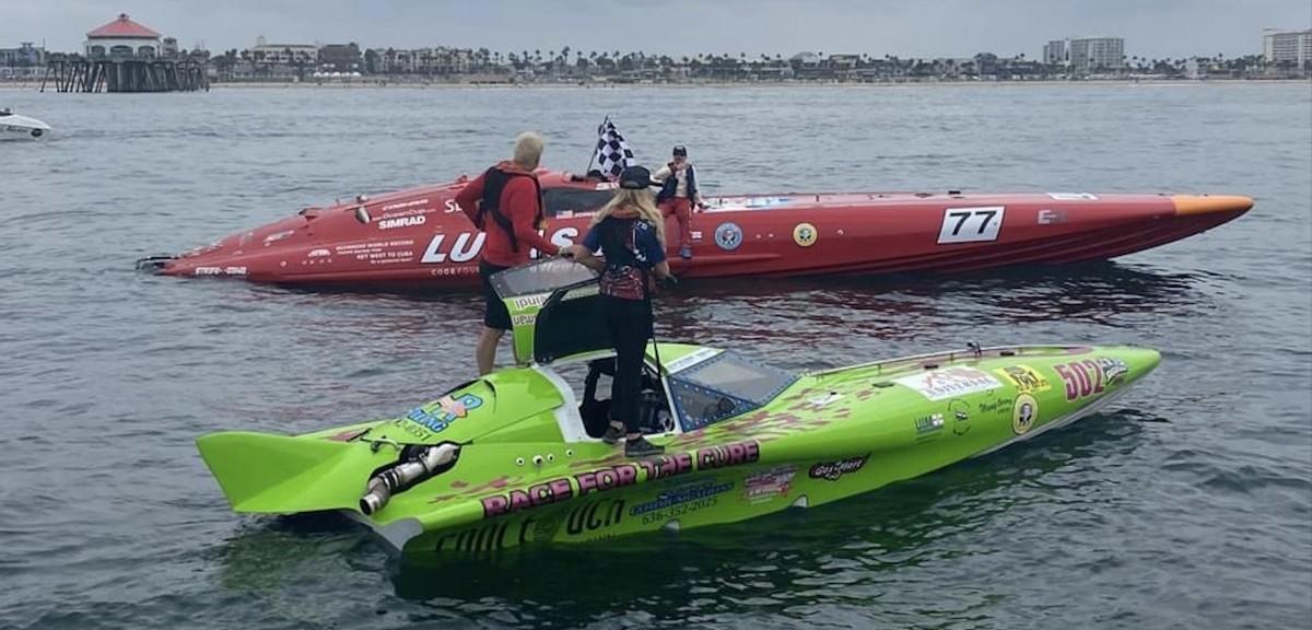 """Team Lucas Oil in their SilverHook 48GP and Team Reindl Powerboats in their 24′ """"Bat Boat"""""""